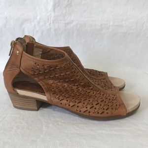 Pikolinos Perforated Leather Peep Toe Booties